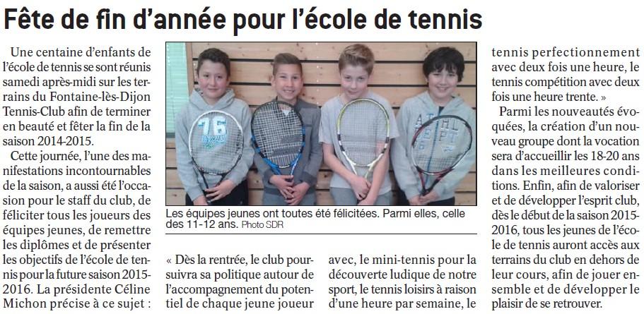 Fête de l'école de tennis - BP 25 juin 2015